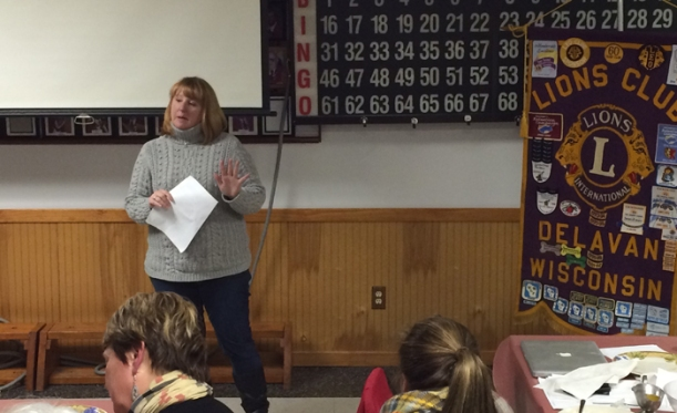 Delavan's Jennifer Kuehni speaks to the Delavan Lions Club about the Wisconsin Lions Camp. Kuehni's son Andrew Ohl has attended the camp for five summers.
